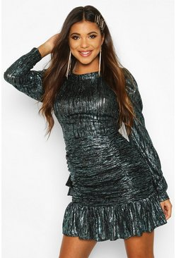 Womens Blue Metallic Crinkle Long Sleeved Dress