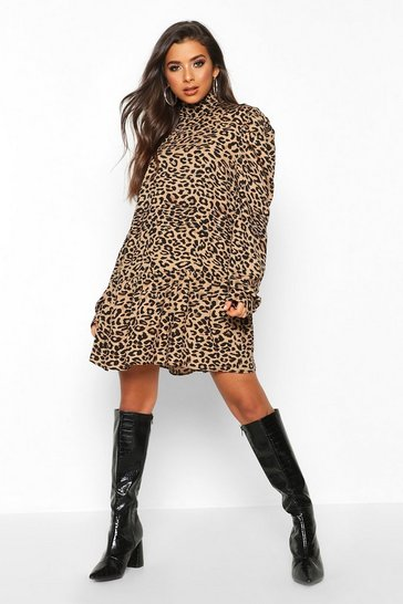 Leopard Print High Neck Smock Dress