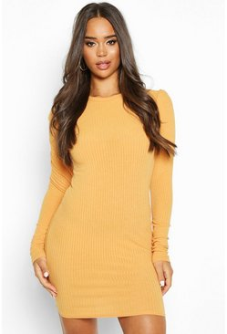 Womens Mustard Rib Rouche Sleeve Long Sleeved Bodycon Dress