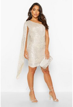 Womens Champagne One Shoulder Draped Mini Dress