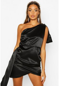 Womens Black Satin Draped Mini Dress