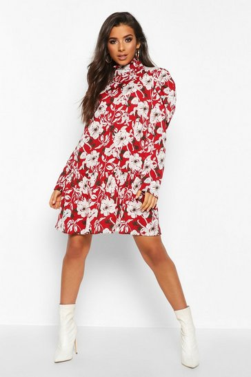 Red High Neck Floral Smock Dress