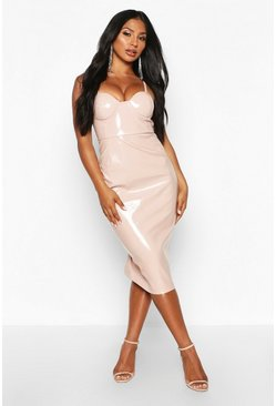 Nude Vinyl Cup Detail Midi Dress