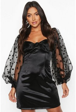 Womens Black Polka Dot Organza Sleeve Mini Dress