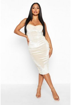 Womens Stone Velvet Ruched Side Bandeau Midi Dress