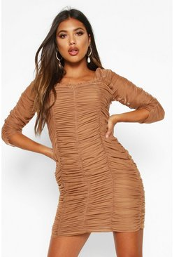 Womens Camel All Over Mesh Ruched Mini Dress
