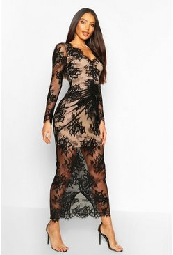 Womens Black All Over Lace Maxi Dress