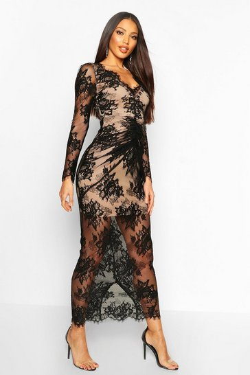 Black All Over Lace Maxi Dress