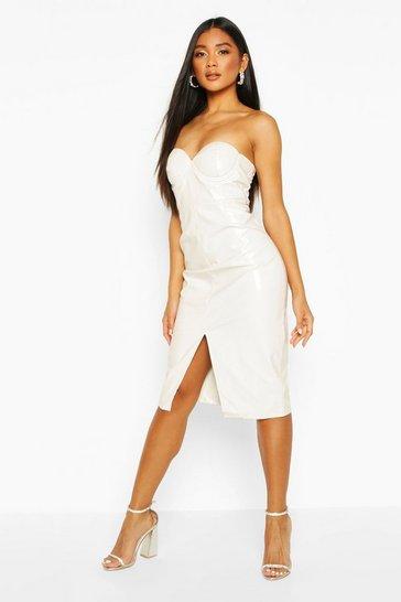 Ecru Vinyl Bandeau Midi Dress
