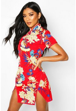 Red High Neck Floral Mini Dress