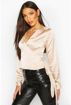 Womens Champagne Satin Wrap Tie Detail Shirt