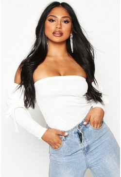 Womens White Crepe Bandeau Oversized Sleeve Top