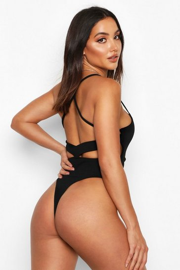 Womens Black Crepe Open Back Bodysuit