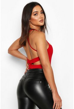 Womens Red Crepe Open Back Bodysuit