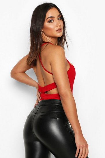 Red Crepe Open Back Bodysuit