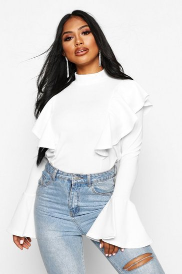 Womens White Crepe Ruffle Detail Top
