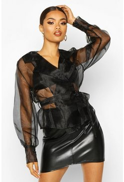 Black Organza Wrap Collar Detail Blouse
