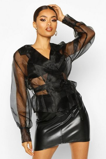 Womens Black Organza Wrap Collar Detail Blouse