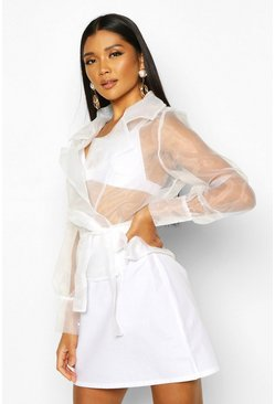Womens White Organza Wrap Collar Detail Blouse