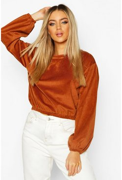 Dam Camel Cord Oversized Sweat Top