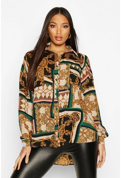 Green Chain Print Oversized Shirt