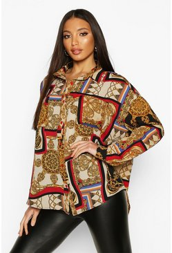 Womens Red Chain Print Oversized Shirt