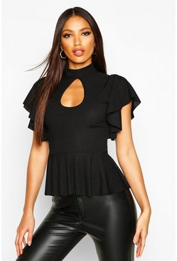 Rib Key Hole Angel Sleeve Peplum, Black, DAMEN