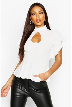 Rib Key Hole Angel Sleeve Peplum, White, Donna