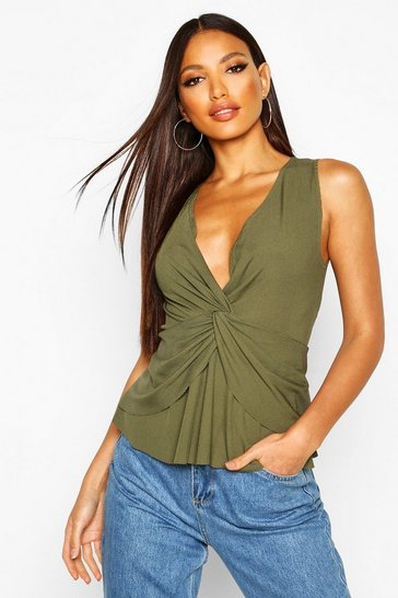 Womens Khaki Rib Twist Front Top