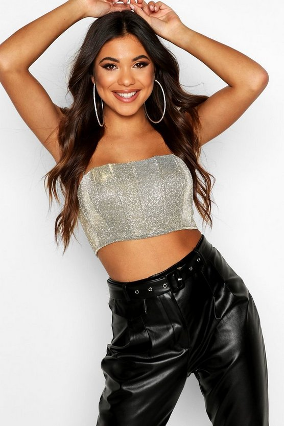 Womens Champagne Glitter Bonded Metallic Crop Top