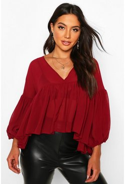 Womens Berry Chiffon Ruffle Smock Top
