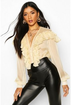 Womens Cream Chiffon Ruffle Deep Plunge Blouse