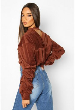Womens Chocolate Cord Twist Back Drawstring Sweat Top