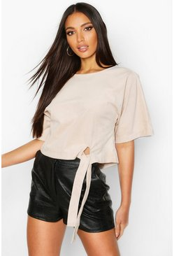 Dam Stone Cord Tie Front Sweat Top