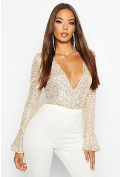 Gold Sequin Wrap Ruffle Cuff Bodysuit