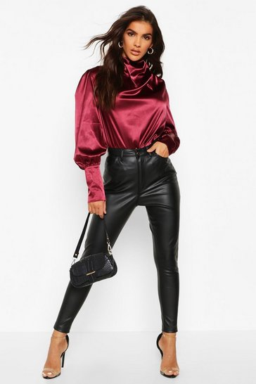 Berry Satin High Neck Oversized Blouse
