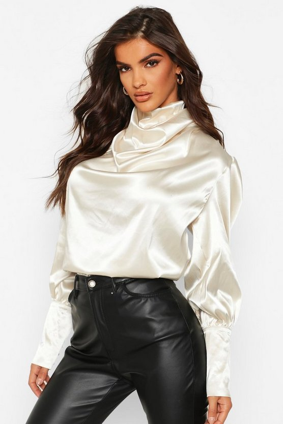 Champagne Satin High Neck Oversized Blouse