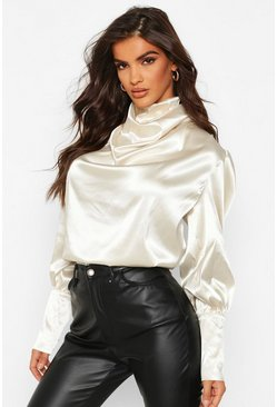 Womens Champagne Satin High Neck Oversized Blouse