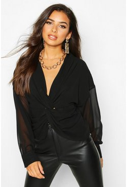Black Twist Front Woven Blouse