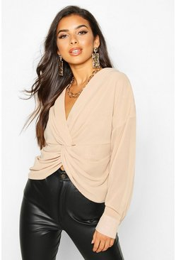 Stone Twist Front Woven Blouse