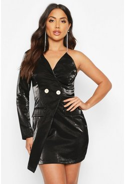 Womens Black Satin One Shoulder Blazer Dress
