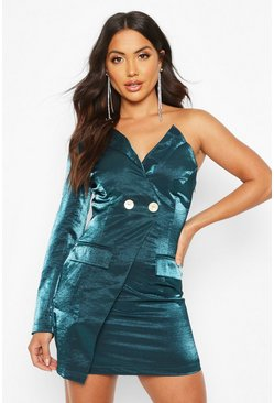Womens Teal Satin One Shoulder Blazer Dress
