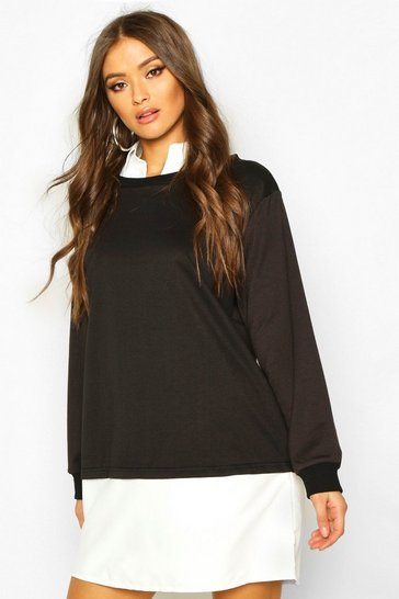 Womens Black 2 In 1 Shirt and Jumper Dress
