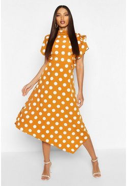 Mustard High Neck Ruffle Front Polka Dot Midi Dress