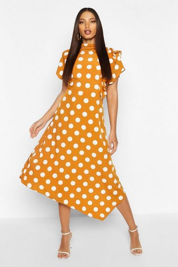 Womens Mustard High Neck Ruffle Front Polka Dot Midi Dress