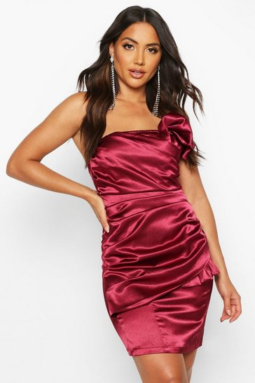 Berry Origami Pleated Satin Mini Dress