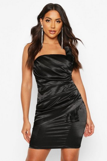Black Origami Pleated Satin Mini Dress