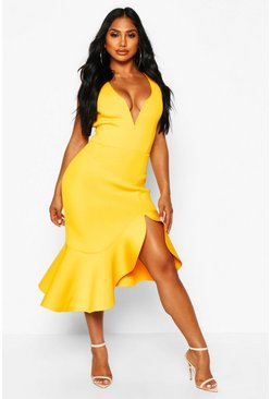 Womens Mustard Structured Ruffle Deep Plunge Midi Dress