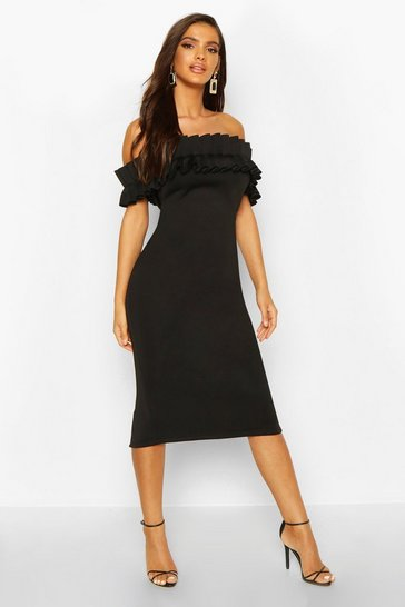 Black Pleated Bardot Midi Dress