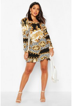 Black Ruched Sweetheart Neck Chain Print Dress